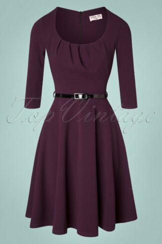 50s Felice Swing Dress in Aubergine
