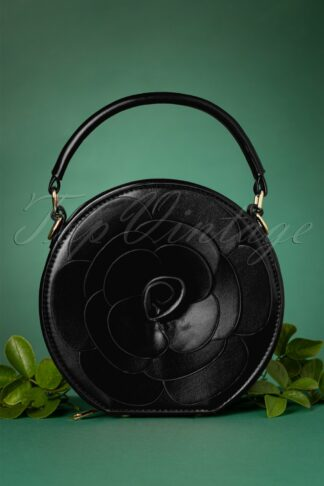 50s Flora Rose Bag in Black