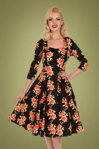 50s Hailey Floral Swing Dress in Black