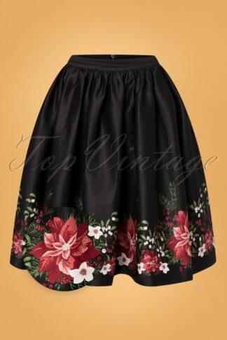 50s Jasmine Festive Floral Swing Skirt in Black