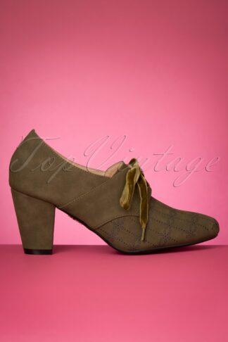 50s Jenny Shoe Booties in Olive Green