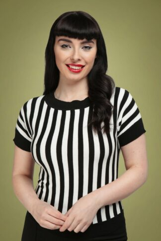 50s Joy Beetle Stripe Knitted Top in Black and White