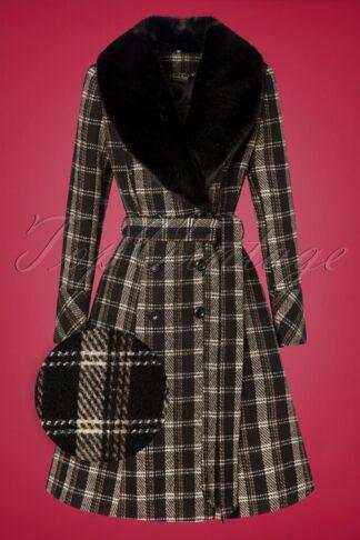 50s Kara Check Coat in Black and Brown