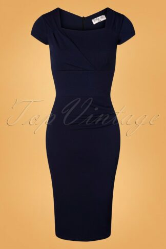 50s Laila Pleated Pencil Dress in Navy