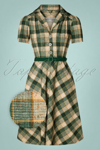 50s Lola Shirtwaister Dress in Green Check