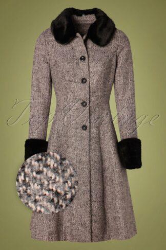 50s Louisa May Coat in Stone