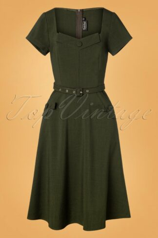50s Marine Front Swing Dress in Forest Green