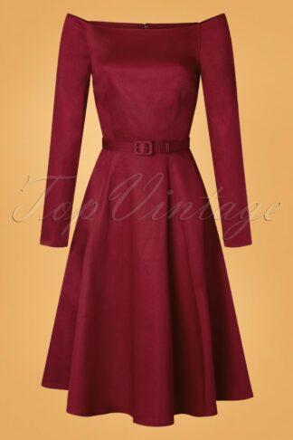 50s Meg Plain Swing Dress in Wine