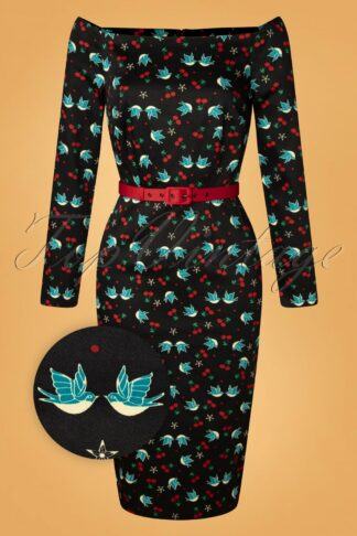 50s Meg Swallows And Cherries Pencil Dress in Black