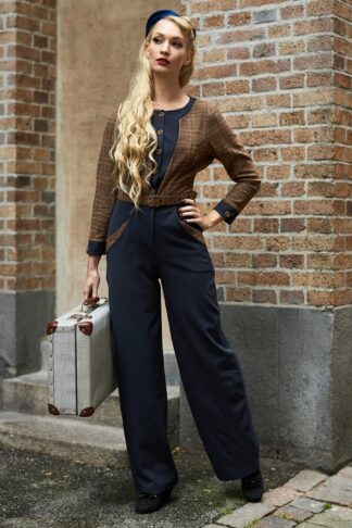 50s Melanie-Lee Jumpsuit in Navy and Brown
