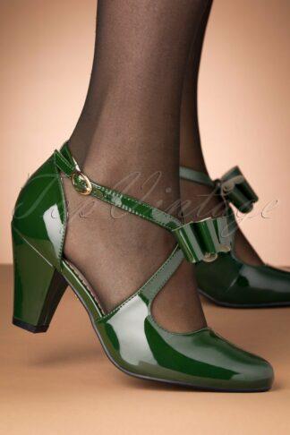 50s Mona High Heels in Glossy Green