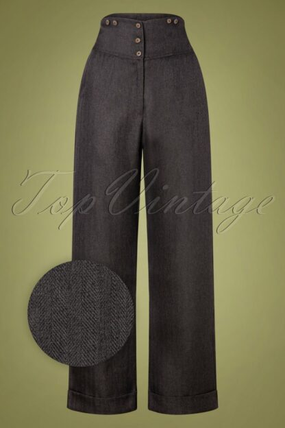 50s Sassy Trousers in Grey