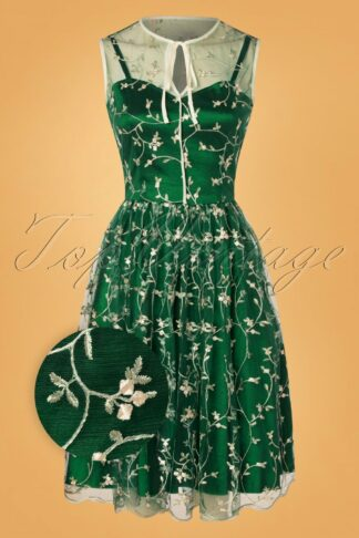 50s Tallulah Tulle Floral Swing Dress in Green