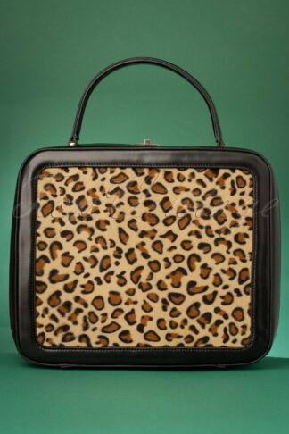 50s Tasha Bag in Black and Leopard