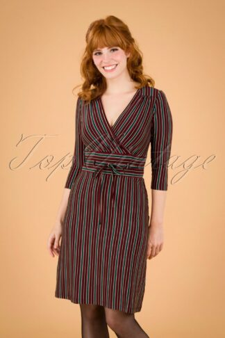 60s Cecil Nippon Stripe Dress in Beet Red