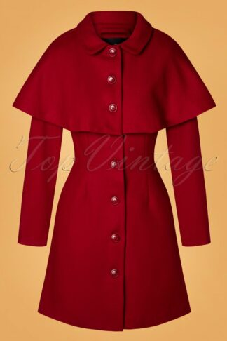 60s Haddie Cape Coat in Red