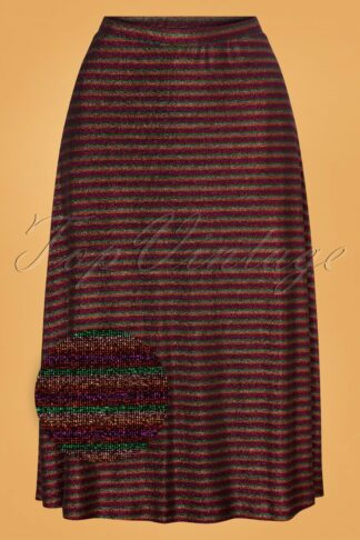 60s Juno Travolta Stripe Skirt in Bronze Brown