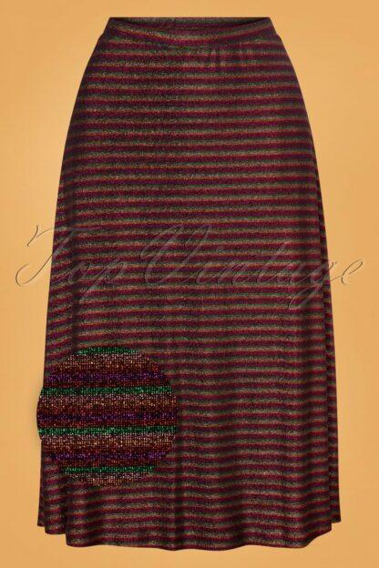 60s Juno Travolta Stripe Skirt in Bronze Brown