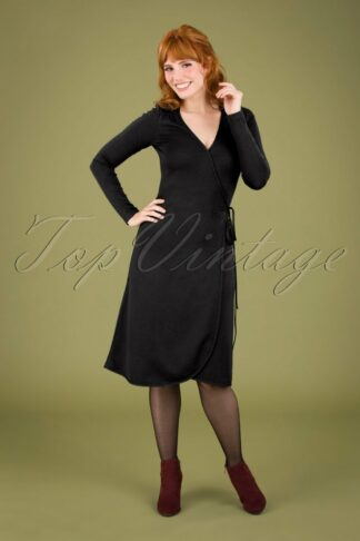 60s Mandy Milano Wrap Dress in Black