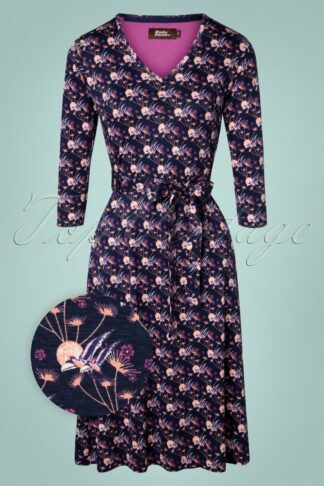 60s My Joy Dress in Navy and Purple