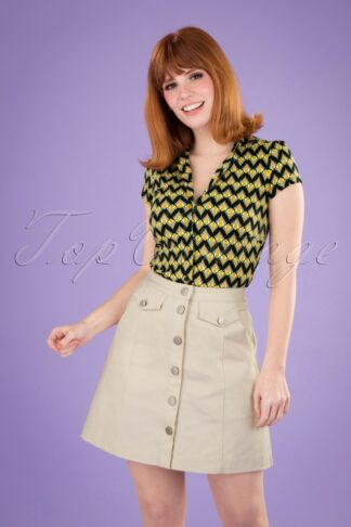 60s Neola Twill Mini Skirt in Ecru