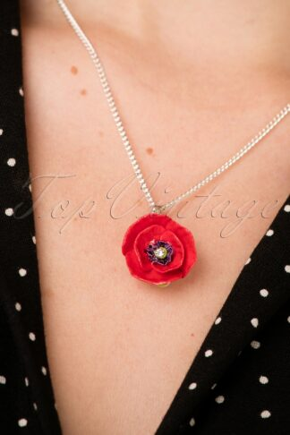 60s Porcelain Poppy Pendant Necklace in Red