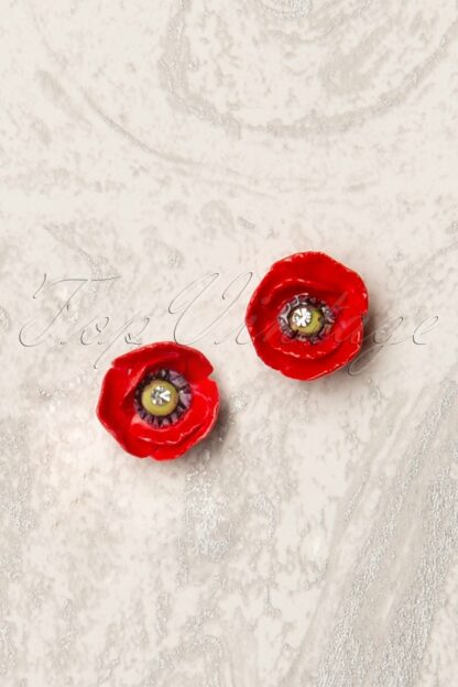 60s Porcelain Poppy Stud Earrings in Red