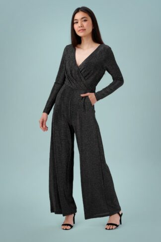 70s Consuela Sparkle Jumpsuit in Black and Silver