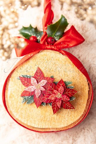 Double Poinsettia Brooch in Red