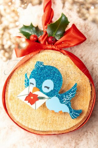 Grace The Christmas Bluebird Brooch in Blue