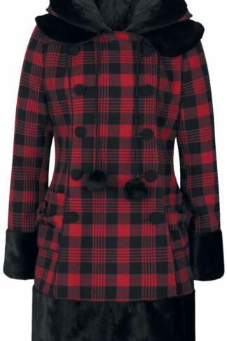 Hell Bunny Katie Coat Mantel schwarz/rot