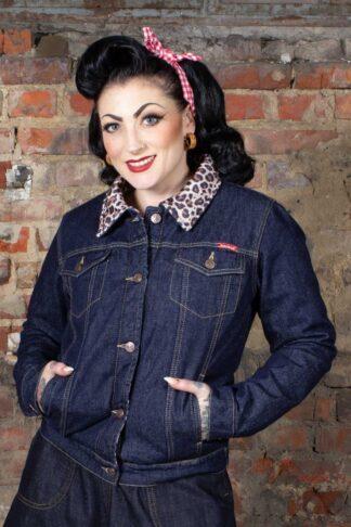 Rumble59 - Damen Jeansjacke mit Leofutter von Rockabilly Rules