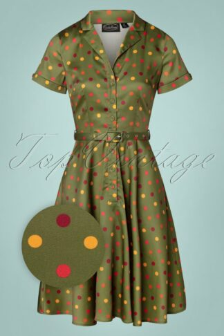 TopVintage exclusive ~ 40s Diana Polkadot Swing Dress in Green