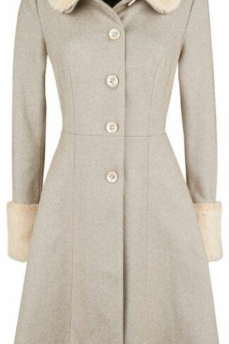 Voodoo Vixen Louisa May Sand Long Dress Coat Mantel beige