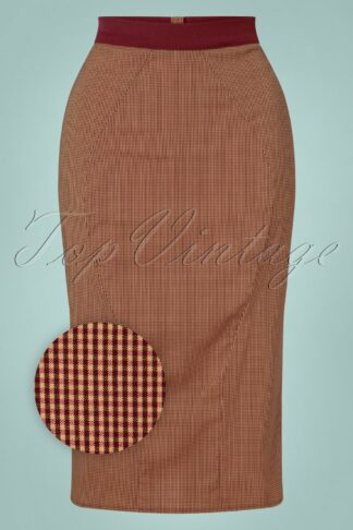 40s Ivanna Check Pencil Skirt in Wine