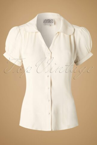 40s Judy Blouse in Cream Crêpe