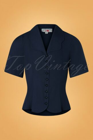 40s Mitzey-Lee Blouse in Navy