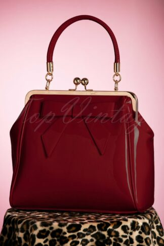 50s American Vintage Patent Bag in Burgundy