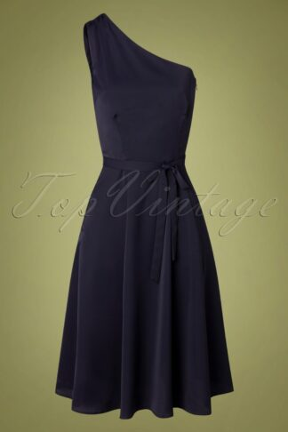 50s Cindal Flared Dress in Navy