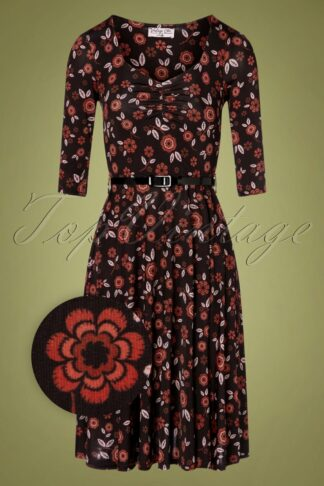 50s Daphne Floral Swing Dress in Black