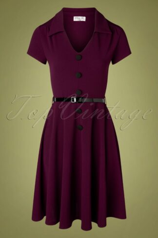 50s Gianna Swing Dress in Berry Purple