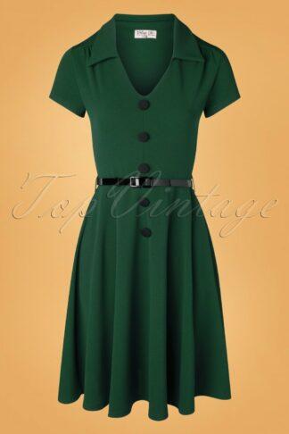 50s Gianna Swing Dress in Forest Green