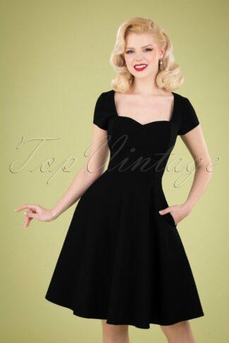 50s Kristy Plain Swing Dress in Black