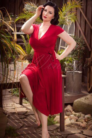 50s Layla Cross Over Dress in Atlas Red