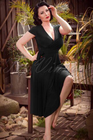 50s Layla Cross Over Dress in Black