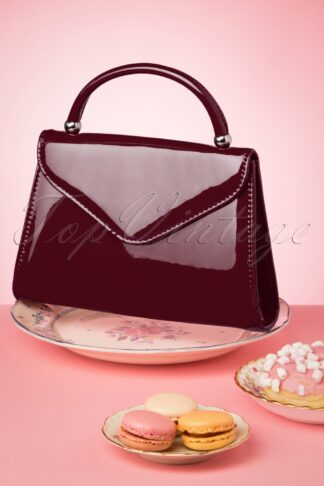 60s Lillian Lacquer Flap Bag in Dark Burgundy
