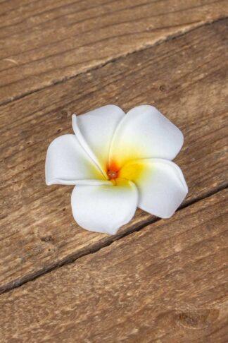 Haarspange Plumeria Hawaii Blüte, weiß von Rockabilly Rules