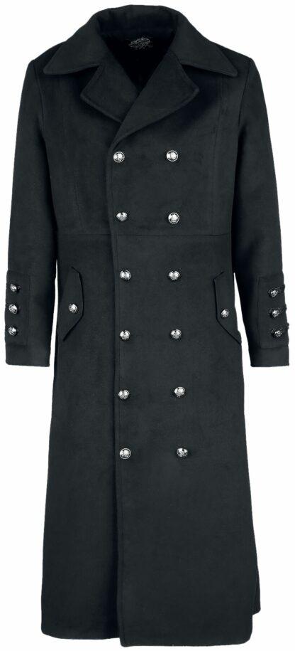 H&R London Classic Military Coat Wintermantel schwarz