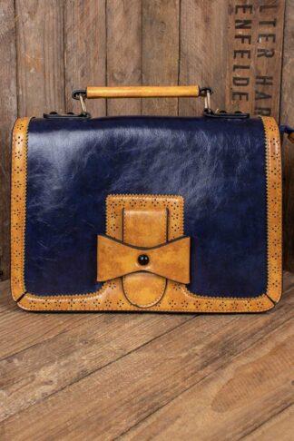 Handtasche - Vintage mit Schleife, blau von Rockabilly Rules