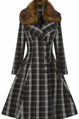 Hell Bunny Brooklyn Coat Mantel schwarz/braun